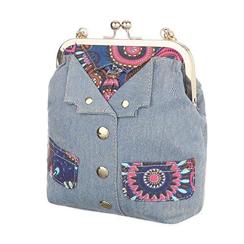 Ital-Design - Bolso al hombro de Lona para mujer azul claro