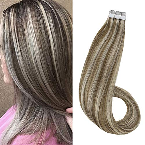 Ugeat 18 Inch Tape in Remy Hair Extensions #10 Golden Brown Highlight #613 Bleach Blonde 40pcs/100g Tape on Extensions Skin Weft Glue in Real Hair Extensions Full Head