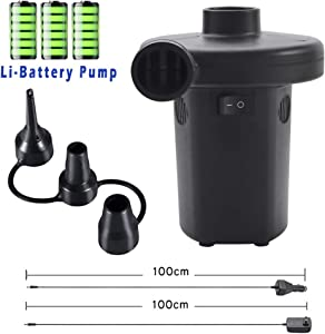 Buymax Electric Air Pump Rechargeable Portable Air Mattress Pump Cordless Inflator Deflator for Pool Inflatables Raft Bed Boat Pool Toy Floats with 12-24V DC &120V Adaptor, 3 Nozzles