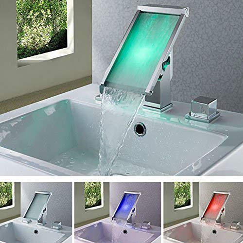 Cascada Color Changing LED Waterfall Widespread Bathroom Sink Faucet (Chrome Finish) (Color Changing Led Waterfall Widespread Bathroom Sink Faucet)