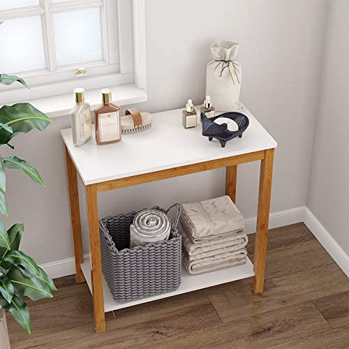 BAMEOS Bamboo Side Table Console Side Table, 2-Tier End Accent Table with Storage Shelf, Modern Furniture for Living Room Bedroom Balcony Family and Office in White Color 23.62 x 11.81 x 23.23 in
