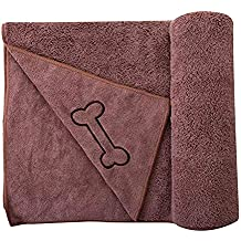 SOFTOWN Microfiber Pet Towel Fast Drying for Dogs and Cats, 28 x 56 inch, Coffee