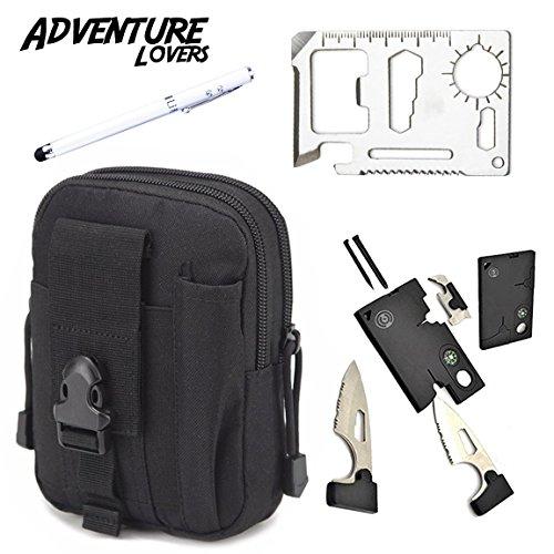 Adventure Lovers Premium Gift Set - Outdoor Wallet, 20-in-1 Credit Card Tool Knife, 4-in-1 Flashlight Pen Presentation Pointer - Stocking Stuffer (Black/White)