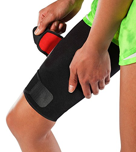 Adjustable Thigh Brace Support, Quadriceps Support and Thigh Wraps for Men and Women. Unisex Breathable Neoprene Non-Slip Hamstring Compression Sleeve