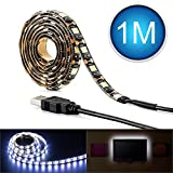 Led Strip Lights, AQV USB Led Side Emitting Flexible White SMD 5050 3.28 Ft (1M) 60 leds 12v bias Rope Lighting, Waterproof Adhesive Tape Strip Lights Kit for TV/PC/Laptop Background Trucks Boats Kitchen Room Party Holidays and Decorations