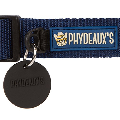 Picture of Phydeaux's Strong 'n Soft Nylon Dog Collar, Dark Blue (8 Colors), Large, Neck 17