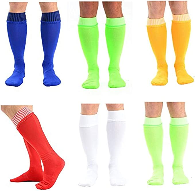 Knee High Performance Football Soccer Rugby Hockey Sports Socks 6 Pairs