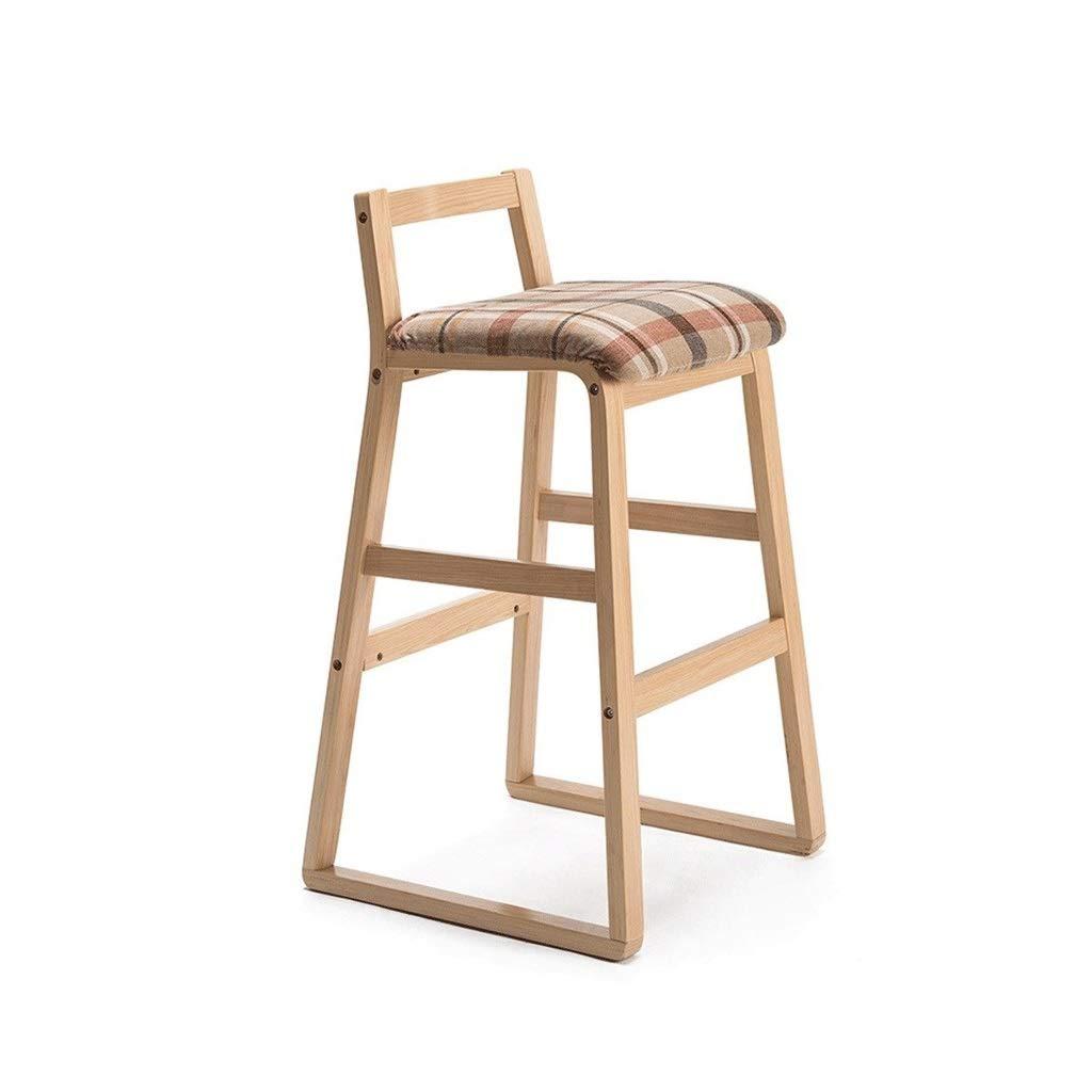 Wood Barstool European bar Stool Back Oak, Linen and Retro Home 45  48  45cm (color   Wood)