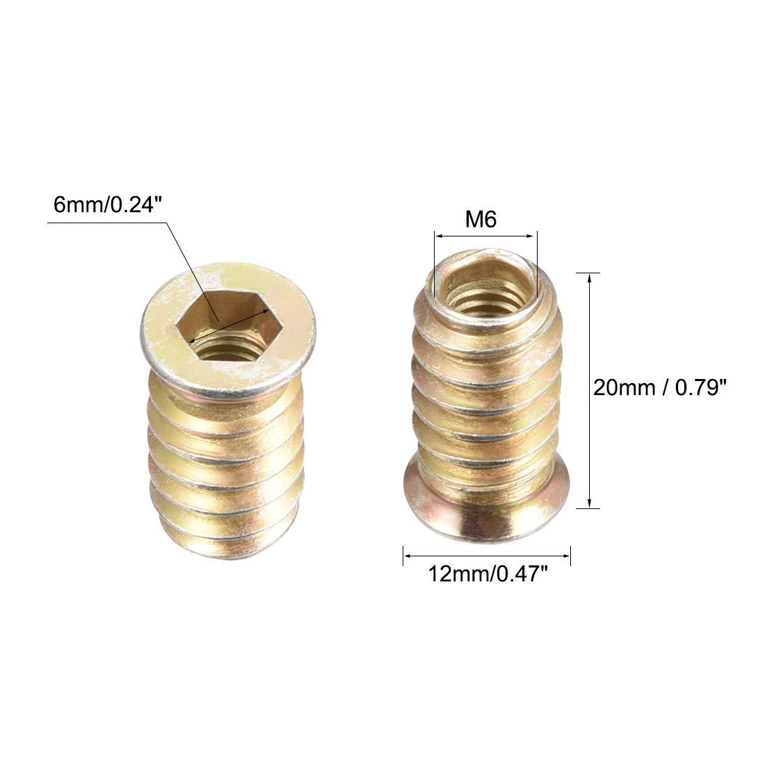 uxcell Wood Furniture M6x17mm Threaded Insert Nuts Interface Hex Socket Drive 100pcs