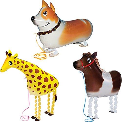 3pcs Walking Pet Aluminum Film Cartoon Animal Balloons Kids Favors Gifts Party Decor group--D (Girl Pkg Baby)