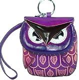A Genuine Leather Coinchange Purse Mini Wristlet Bag Owl Design100 Hand madecute  Purple