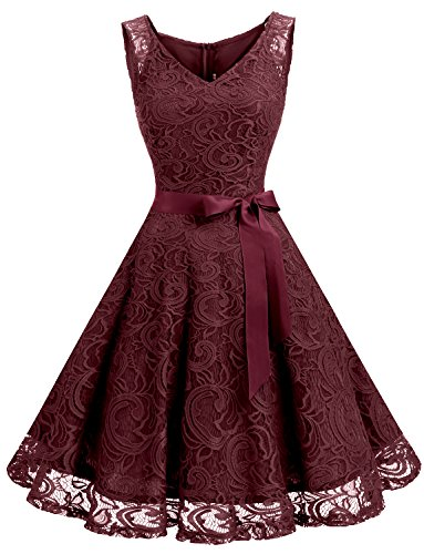 Dressystar DS0010 Floral Lace Bridesmaid Party Dress Short Prom Dress V Neck XL Burgundy