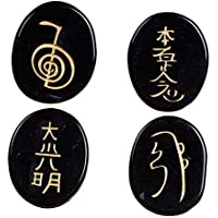 Healing Crystals India: Black Obsidian 4pcs Engraved Chakra Stone Palm Stone Crystal reiki symbols