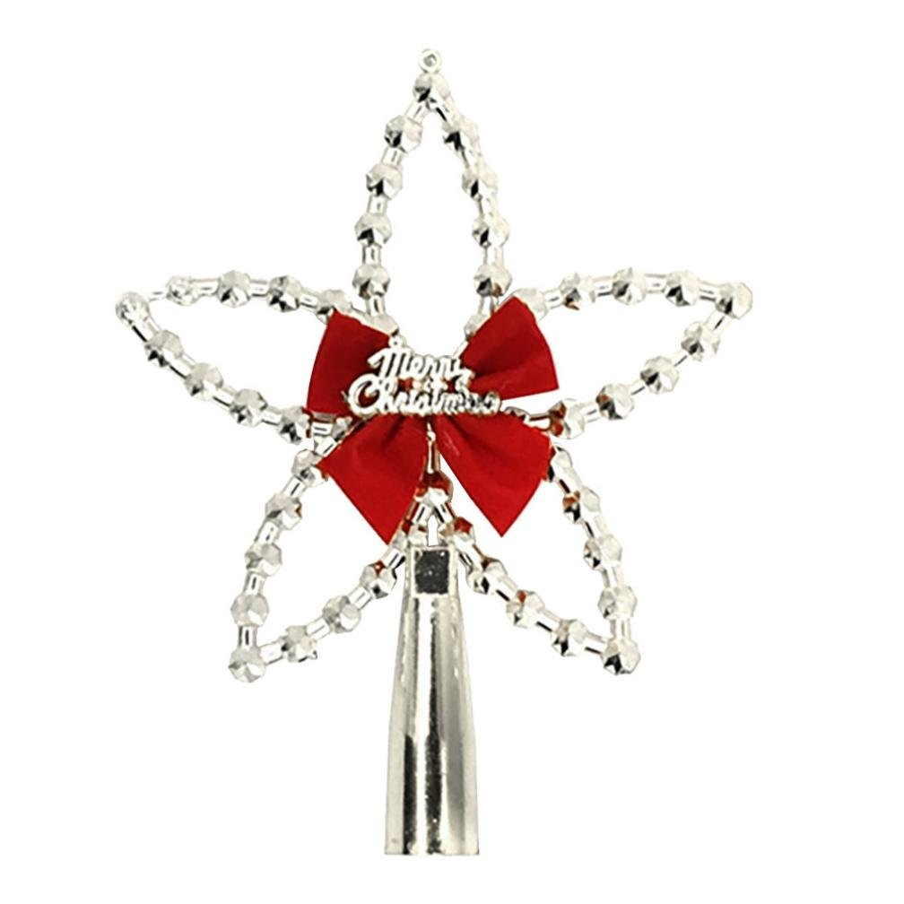 Christmas Tree Treetop Five-Pointed Star Ornaments, Staron Xmas Festival Decoration Supplies Accessories Tree Top Pendant Ornament Decorative (Silver)