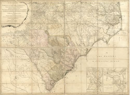 1775 Map An accurate map of North and South Carolina with their Indian frontiers, shewing in a distinct manner all the mountains, rivers, swamps, marshes, bays, creeks, harbours, sandbanks and soundin