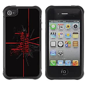 LASTONE PHONE CASE / Suave Silicona Caso Carcasa de Caucho Funda para Apple Iphone 4 / 4S / The System Must Pay