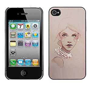 TopCaseStore / Snap On Hard Back Shell Rubber Case Protection Skin Cover - Design Pearls Woman Art Painting - Apple iPhone 4 / 4S