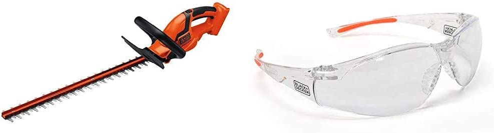 BLACK+DECKER 36V MAX Cordless Hedge Trimmer, 24-Inch, Tool Only with Safety Eyewear, Lightweight, Clear Lens (LHT2436B & BD250-1C)