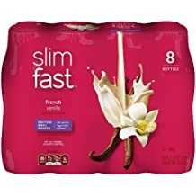 SlimFast Ready to Drink Bottles, French Vanilla Meal Replacement Shake, 10-Ounces, 8 Count