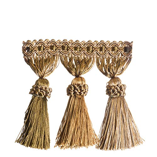 Olivewood Bronze Gold Green Tassel Onion Ball Fringe Trimmings Upholstery Fabric by the yard