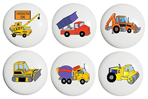 Construction Drawer Pulls / Construction Truck Ceramic Knobs , Set of 6