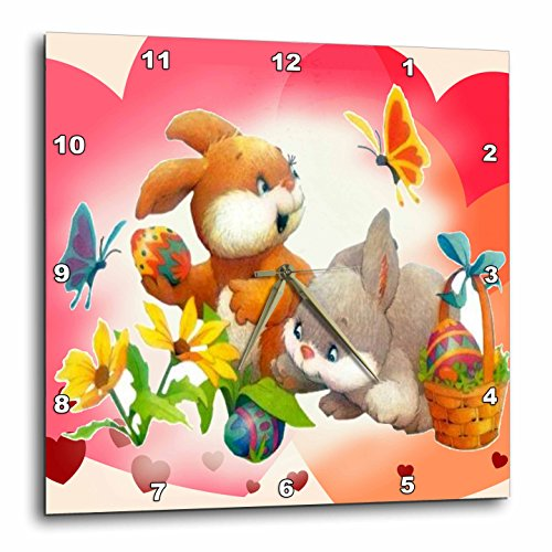 Two Playful Bunny Rabbits on A Easter Egg Hunt with Butterfly