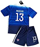 JonSnow 2015 Alex Morgan #13 Kids/Youth Away Jerseys Shorts Blue,Size 9-10