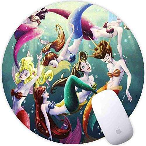 (DISNEY COLLECTION Mouse Pad Round Mouse Pad Ariel Disney Little Mermaid Mermaids Triton Ariels Sisters 360 Protection)