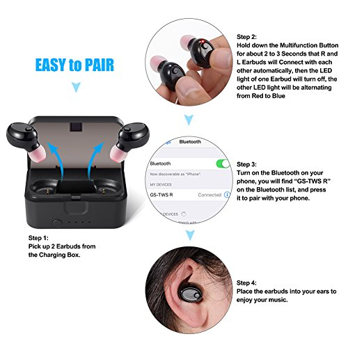 Mini Bluetooth Earbuds, PChero Wireless Invisible Headphone with Built-in Mic and Charging Box, Ideal for iOS Android Smartphones Tablets (Black, Double Ears) by PChero (Image #1)'