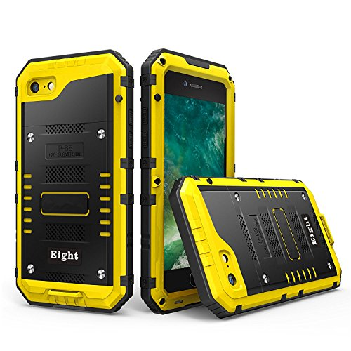iPhone 8 / 7 Waterproof Case Heavy Duty with Built-in Screen Full Body Protective Shockproof Drop proof Hybrid Hard Cover Military Outdoor Sport for Apple iPhone 8 / 7 (Yellow)