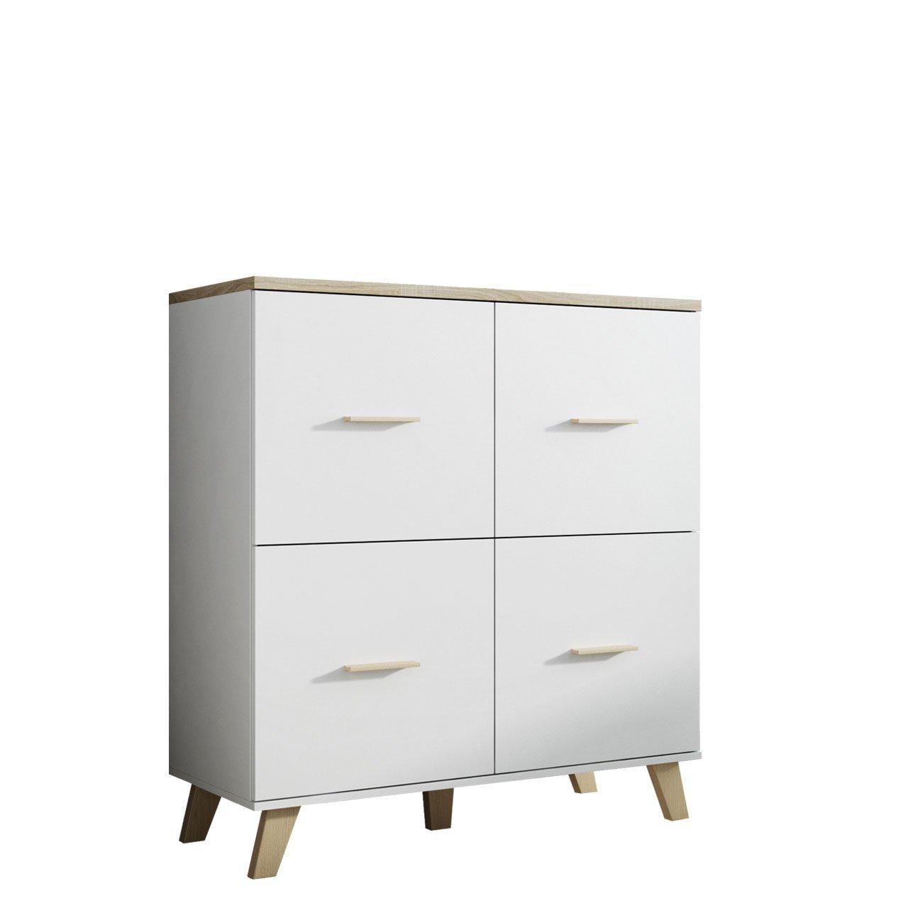 Mirjan24  Kommode Lotta 110 4D im skandinavischen Stil, Anrichte, Mehrzweckschrank, Wohnzimmerschrank, Sideboard, Schrank, Wohnzimmer (Brilliant Weiß + Eiche Sonoma)