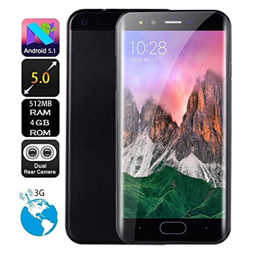 DEESEE(TM) New5.0 inch Dual HD Camera Smartphone Android 512+ 4G GPS 3G Call Mobile Phone (Black)