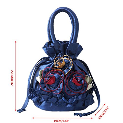 Royal Petit Royalblue Main Fleur Brodé Sac Portefeuille Satin JAGENIE Main Sac Coin à Sac Cadeau Nouvelles Femmes Bleu À Soie ZTww7Hq
