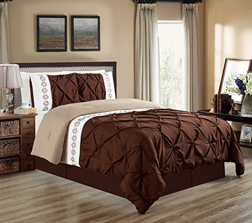 3 Piece KING size DARK Brown / Taupe / White Double-Needle S