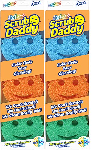 Scrub Daddy - Original Temperature Controlled Colored Scrubber - Scratch-Free & Odor Resistant - 6 Count