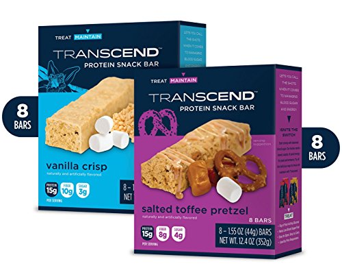16 Bar Variety Pack: Toffee Pretzel Crisp & Delicious Vanilla Treat Protein Bars Best Tasting Low Carb Low Sugar Protein Bars - 15g Protein, 5-7g Net Carb, 3-4g Sugar by Transcend Foods (Image #3)