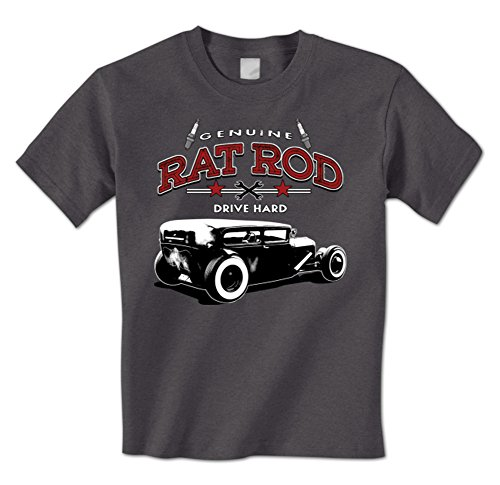 Genuine Rat Rod Drive Hard - Classic Vintage Hot Rod Mens T-Shirt XL Charcoal