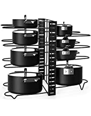 Alliebe 8 Tiers Pot and Pan Rack Organizer Holder for Pot Lid and Pans with 3 DIY Methods