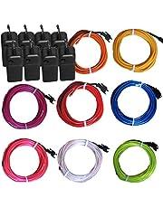 8 عبوات من أسلاك كهرباء متوهجة متوهجة متوهجة من TDLTEK (أزرق، أخضر، أحمر، أبيض، وردي، أرجواني، برتقالي، أصفر) + 3 أوضاع تحكم في البطارية