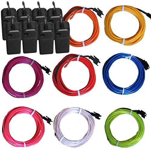 TDLTEK 8 Pack Neon Glowing Strobing Electroluminescent Wire/El Wire(Blue, Green, Red, White, Pink, Purple,Orange, Yellow) + 3 Modes Battery Controllers ()