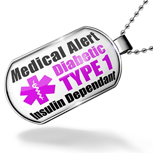 Dogtag Medical Alert Purple Diabetic Insulin Dependant TYPE 1 Dog tags necklace - Neonblond