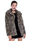 Choies Women Elegant Vintage Leopard Print Lapel Faux Fur Coat Fall Winter Outwear S