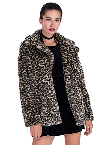 Choies Women Elegant Vintage Leopard Print Lapel Faux Fur Coat Fall Winter Outwear L - Leopard Faux Fur Coat
