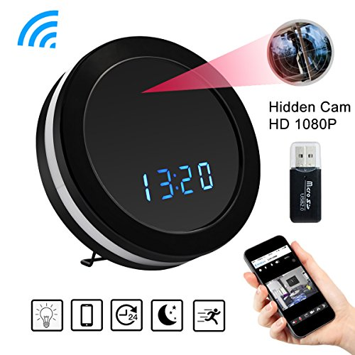 Wifi Camera Clock – Bysameyee Wireless HD 1080P Real-time Video Recorder Cam with Motion Detection, Night Vision, Colorful LED Lights