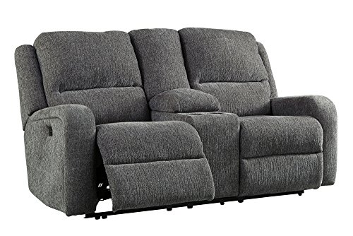 Ashley Krismen Collection 7810218 73″ Power Reclining Loveseat with Adjustable Headrest Storage Console Chenille Upholstery and USB Charging Port in Review