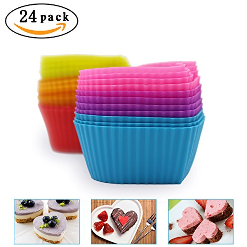 Hippih Silicone Baking Cup Reusable Cupcake Liners,Food Grade Muffin Cups(Heart molds,24 Packs)