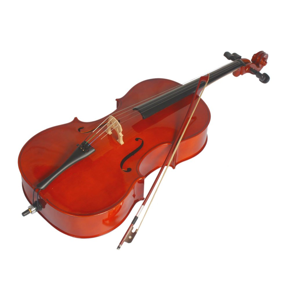 VIPITH 3/4 Acoustic Cello + Case + Bow + Rosin Wood Color Beautiful Varnish Finishing Natural Color