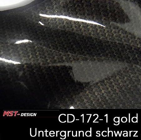 MST-Design 2 Meter Lfm CD-172-1 Carbon Gold Gold-Carbon Dekor Film Folie in 60 cm Breite Wassertransferdruck WTD/Wassertransf
