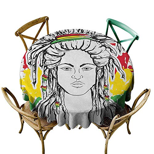 Wendell Joshua red Tablecloth 54 inch Rasta,Grunge Ethiopian Flag Colors with a Black and White Sketchy Girl Image, Red Marigold and Green Indoor/Outdoor Spillproof Table Cloth (Restaurant With Red White And Green Flag Logo)