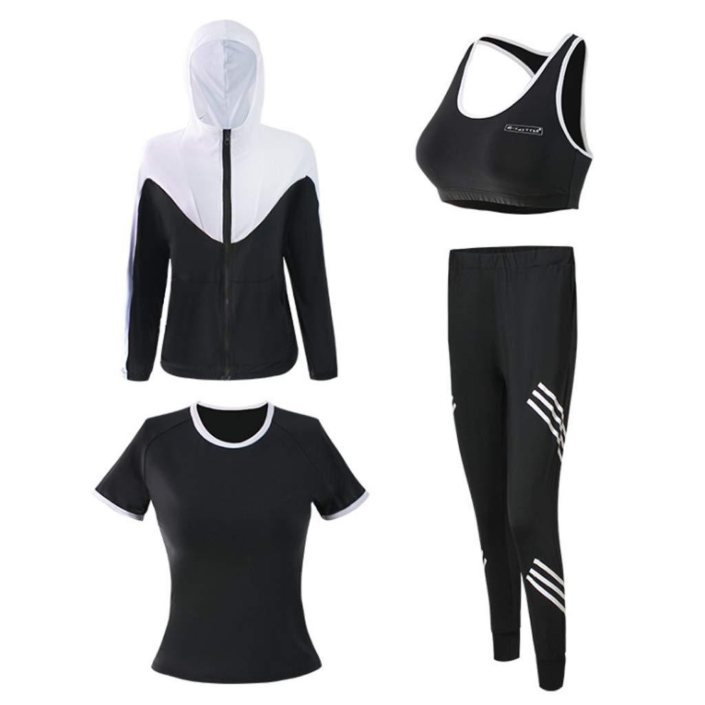 Lilongjiao Damen Sportswear Zipper Hoodie und Jogginghose Yoga Kleidung langärmelige Sportjacke Fitness Kleidung Outdoor Laufbekleidung Yoga Kleidung Vierteiliger Anzug